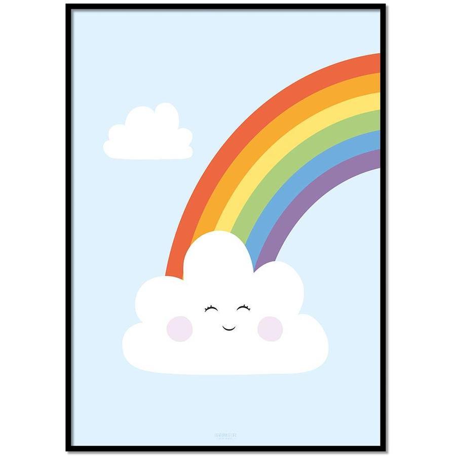 Poster kinderkamer regenboog met lief wolkje blauw-1