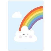 thumb-Poster kinderkamer regenboog met lief wolkje blauw-5