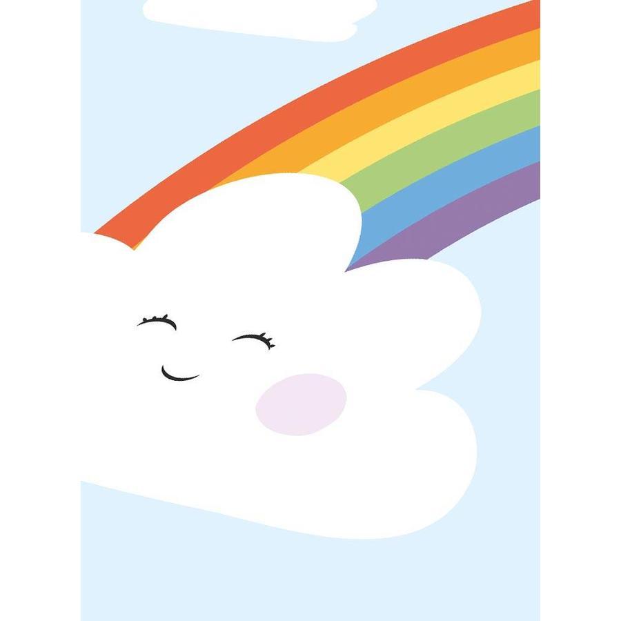 Poster kinderkamer regenboog met lief wolkje blauw-3
