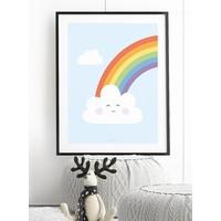 thumb-Poster kinderkamer regenboog met lief wolkje blauw-4