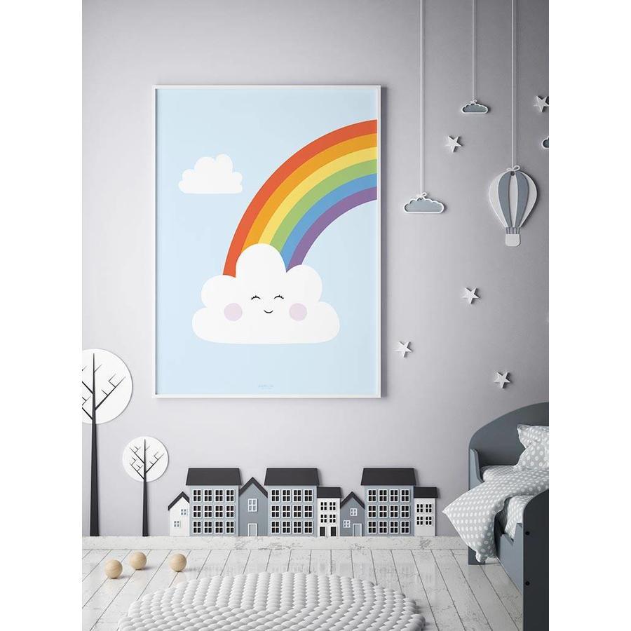 Poster kinderkamer regenboog met lief wolkje blauw-6