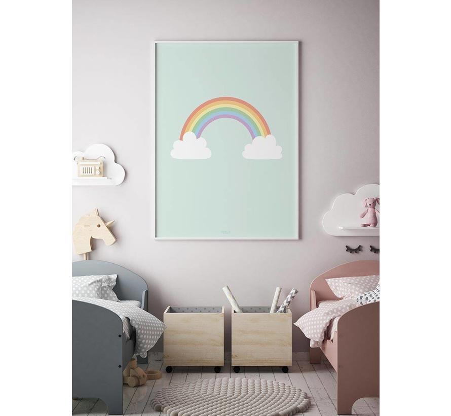 Poster kinderkamer regenboog met wolkjes mint