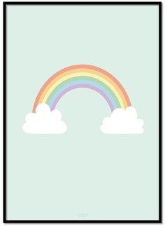 Lievespulletjes Poster regenboog met wolkjes mint