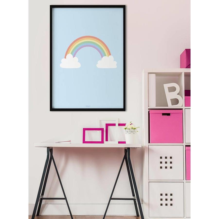 Poster kinderkamer regenboog met wolkjes blauw-4