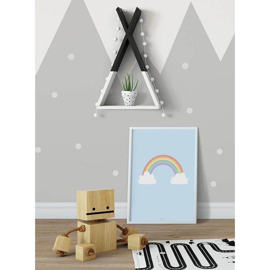 Poster kinderkamer regenboog met wolkjes blauw-6