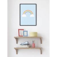 thumb-Poster kinderkamer regenboog met wolkjes blauw-2