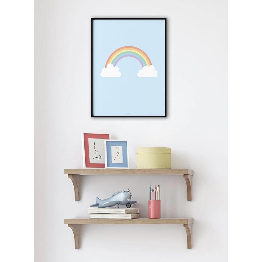 Poster kinderkamer regenboog met wolkjes blauw-2