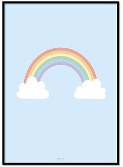 Lievespulletjes Poster regenboog met wolkjes blauw