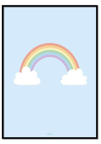 Poster regenboog met wolkjes blauw