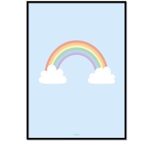 Lievespulletjes Poster kinderkamer regenboog met wolkjes blauw