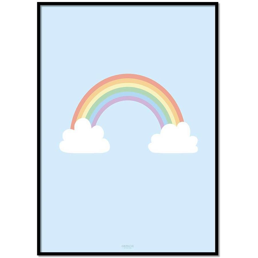 Poster kinderkamer regenboog met wolkjes blauw-1