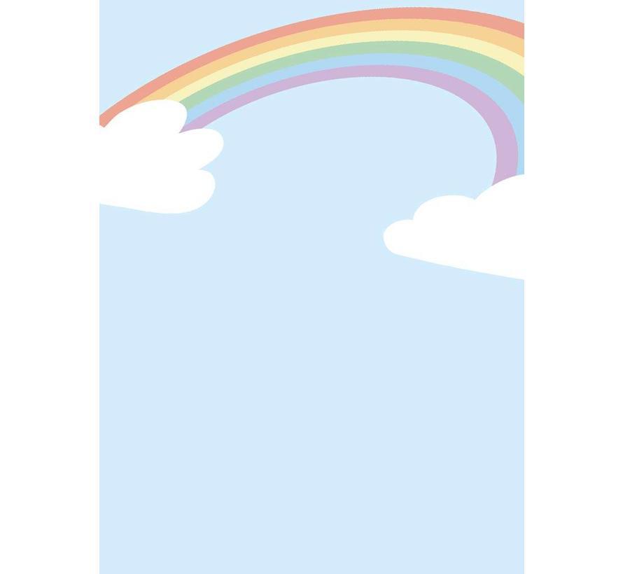 Poster kinderkamer regenboog met wolkjes blauw