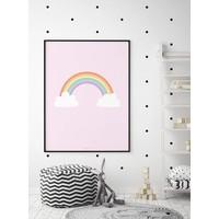 thumb-Poster kinderkamer regenboog met wolkjes roze-4