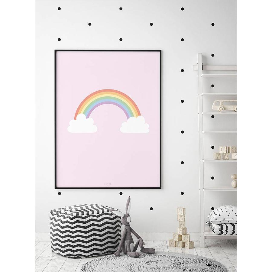 Poster kinderkamer regenboog met wolkjes roze-4