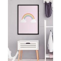 thumb-Poster kinderkamer regenboog met wolkjes roze-2