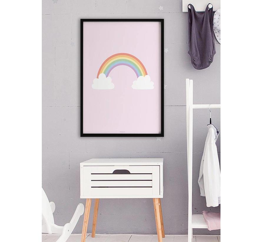 Poster kinderkamer regenboog met wolkjes roze