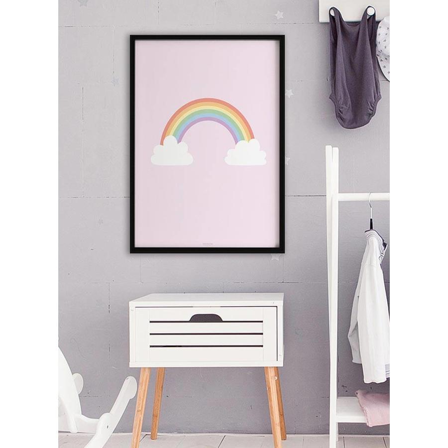 Poster kinderkamer regenboog met wolkjes roze-2