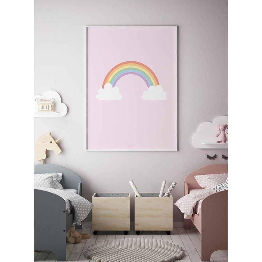 Poster kinderkamer regenboog met wolkjes roze-5