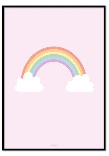 Poster regenboog met wolkjes roze