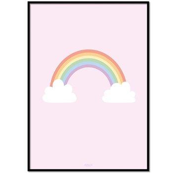 Lievespulletjes Poster regenboog met wolkjes roze