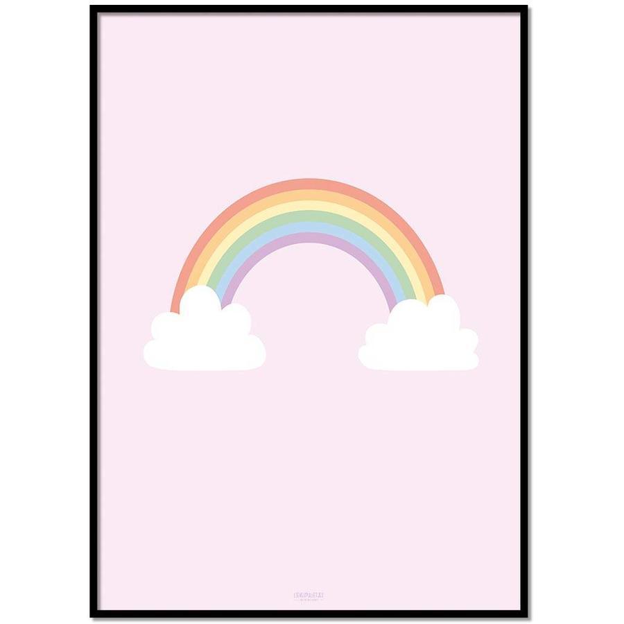 Poster kinderkamer regenboog met wolkjes roze-1