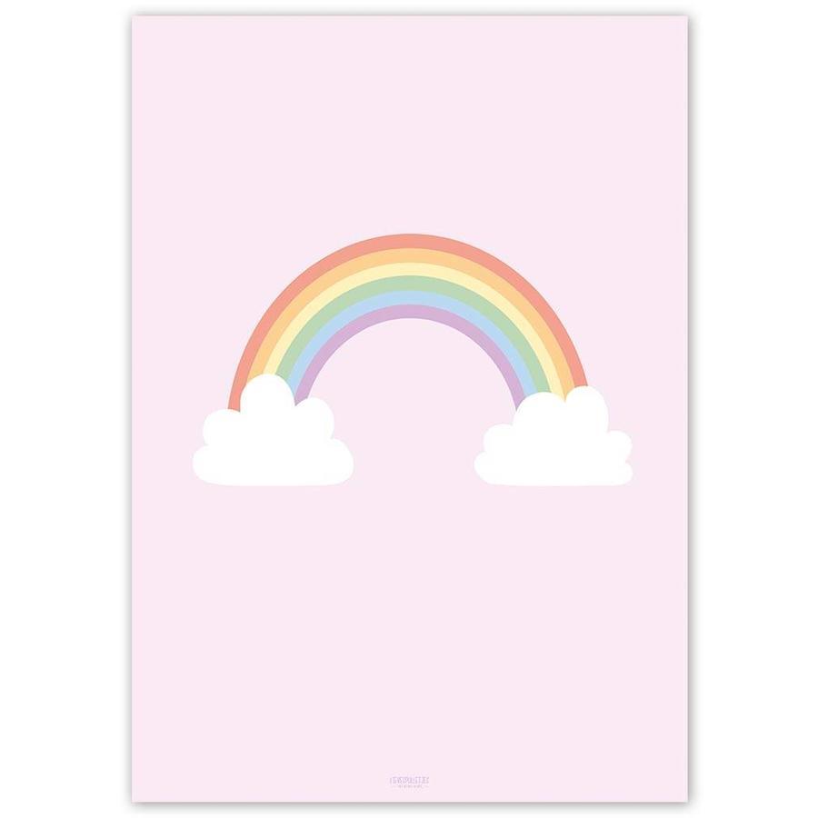 Poster kinderkamer regenboog met wolkjes roze-3