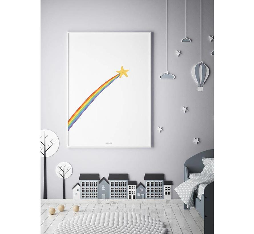 Poster kinderkamer: regenboog shooting star