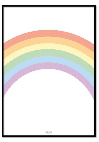 Poster pastel regenboog