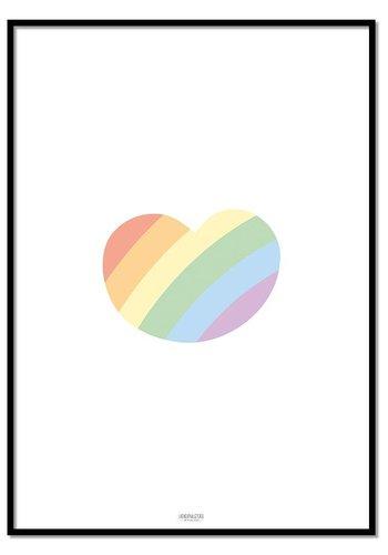 Poster regenboog hartje