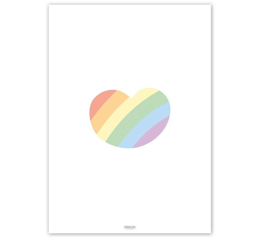 Poster kinderkamer regenboog hartje