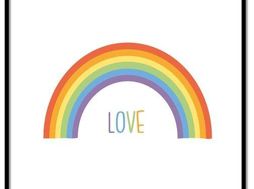 Lievespulletjes Poster kinderkamer regenboog love