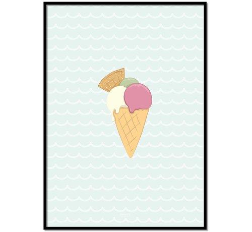 Lievespulletjes Poster babykamer ijsje mint