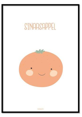Poster babykamer sinaasappel - met tekst