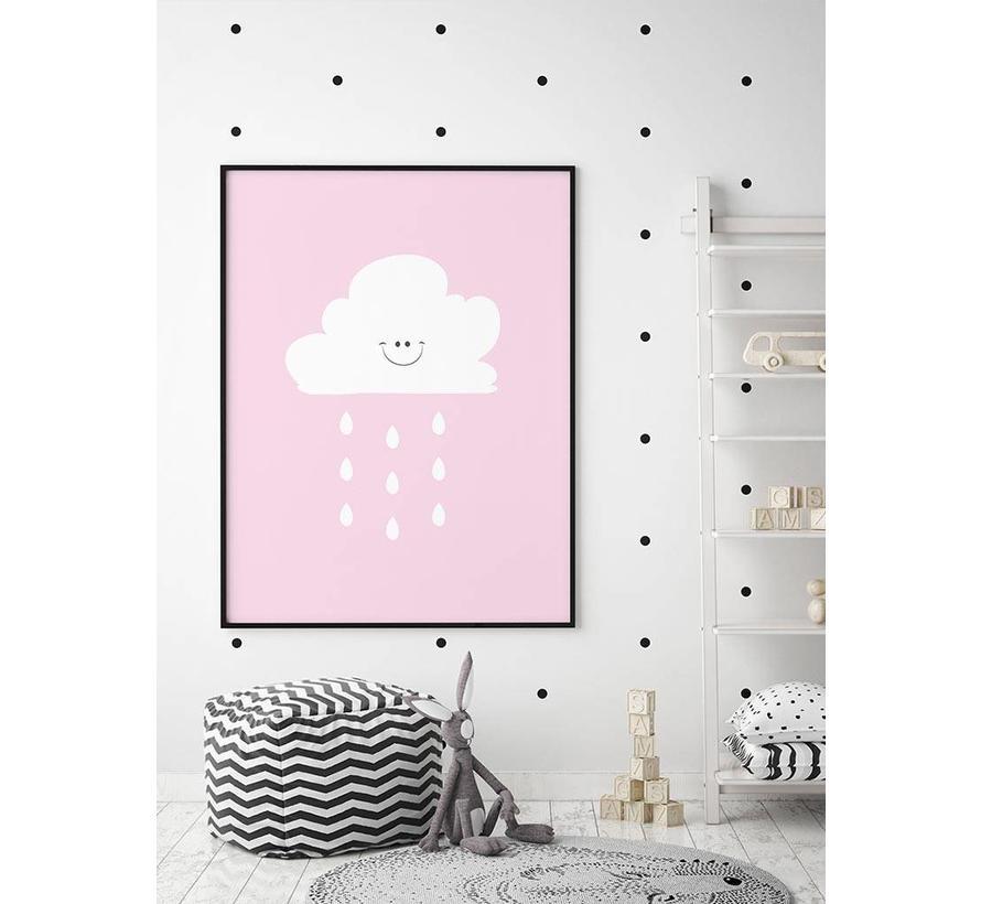 Poster lief regenwolkje roze