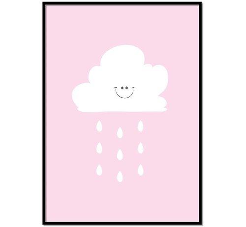 Lievespulletjes Poster lief regenwolkje roze
