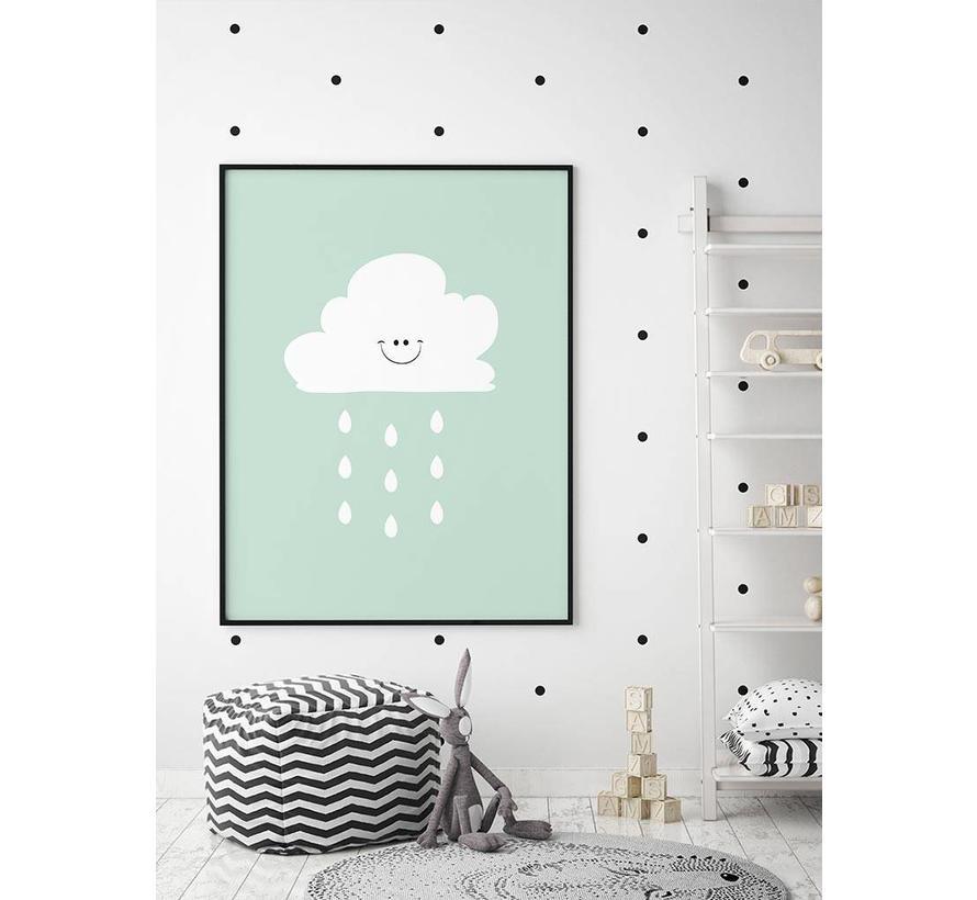 Poster lief regenwolkje groen