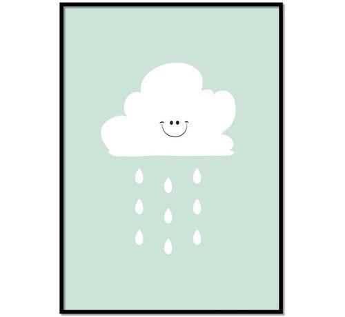 Lievespulletjes Poster lief regenwolkje groen