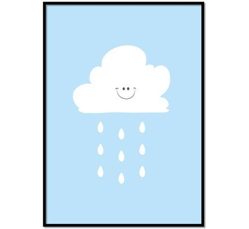 Lievespulletjes Poster lief regenwolkje blauw