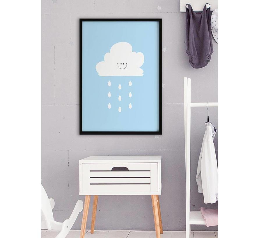 Poster lief regenwolkje blauw