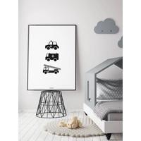 thumb-Poster babykamer politie ziekenauto brandweerwagen zwart wit-3