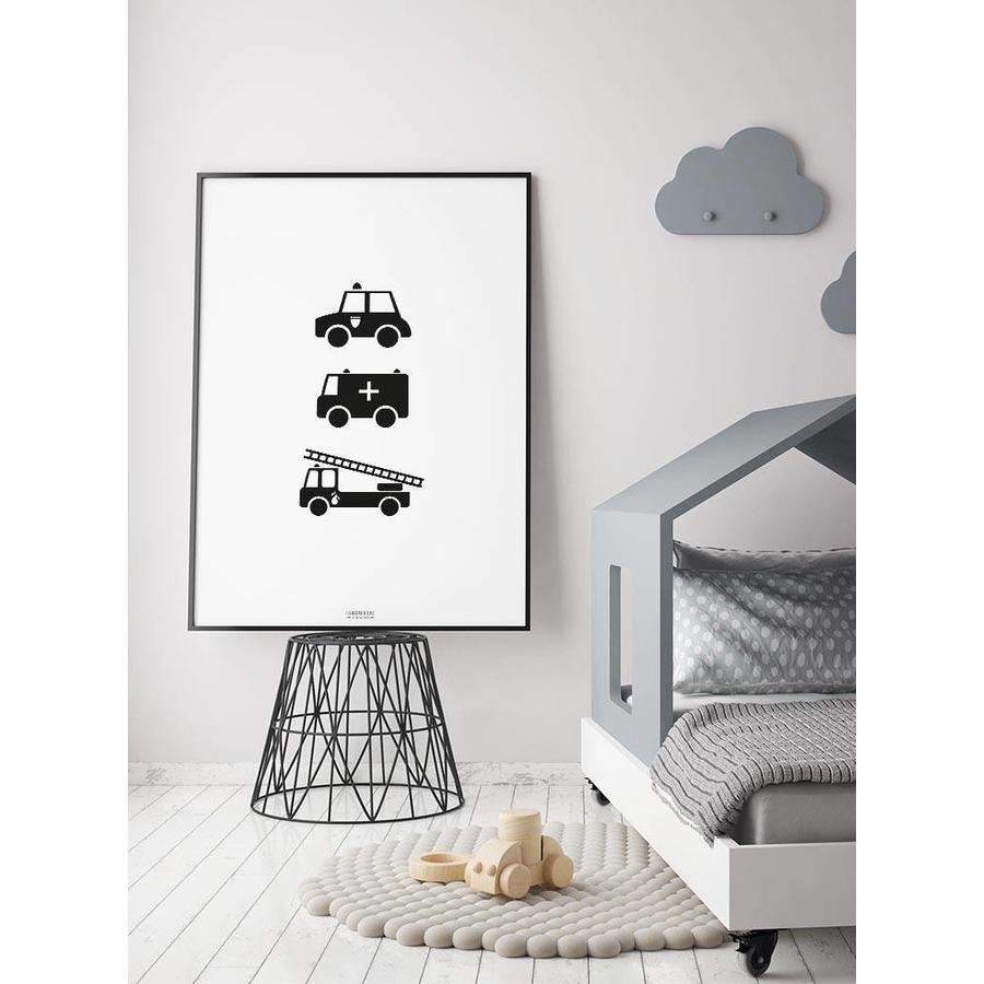 Poster babykamer politie ziekenauto brandweerwagen zwart wit-3