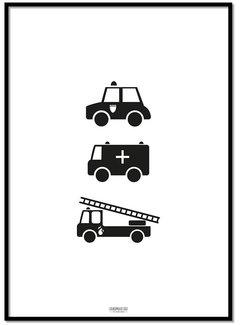 Lievespulletjes Poster politie ziekenauto brandweerwagen zwart wit
