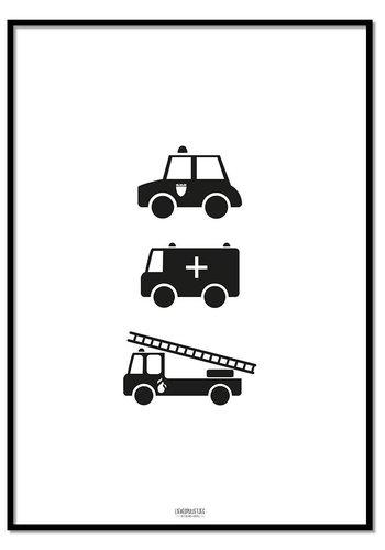 Poster politie ziekenauto brandweerwagen zwart wit
