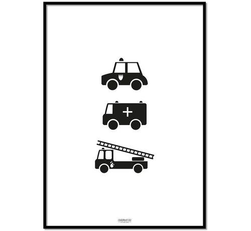 Lievespulletjes Poster babykamer politie ziekenauto brandweerwagen zwart wit