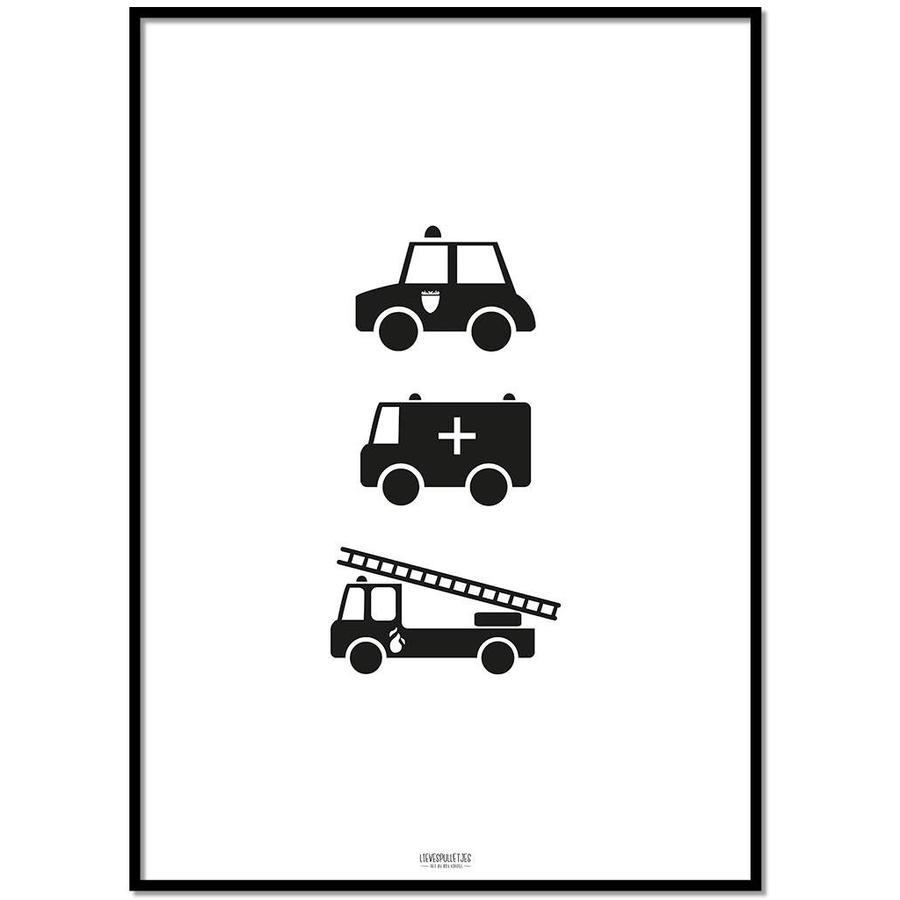 Poster babykamer politie ziekenauto brandweerwagen zwart wit-1