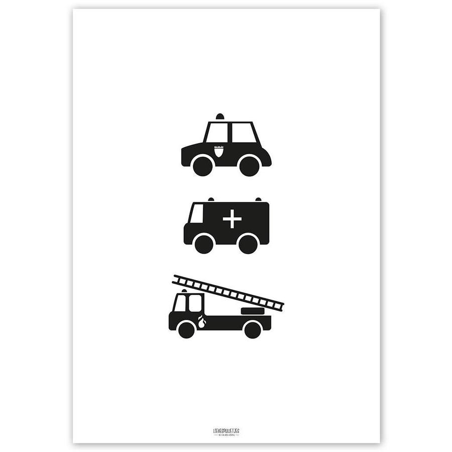 Poster babykamer politie ziekenauto brandweerwagen zwart wit-5