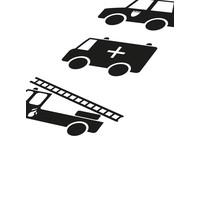 thumb-Poster babykamer politie ziekenauto brandweerwagen zwart wit-4