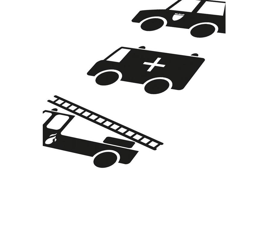 Poster babykamer politie ziekenauto brandweerwagen zwart wit