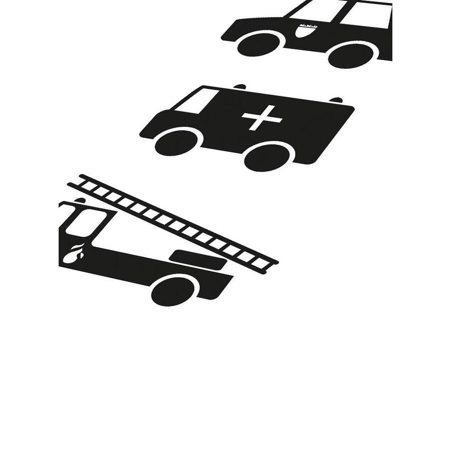 Poster babykamer politie ziekenauto brandweerwagen zwart wit-4