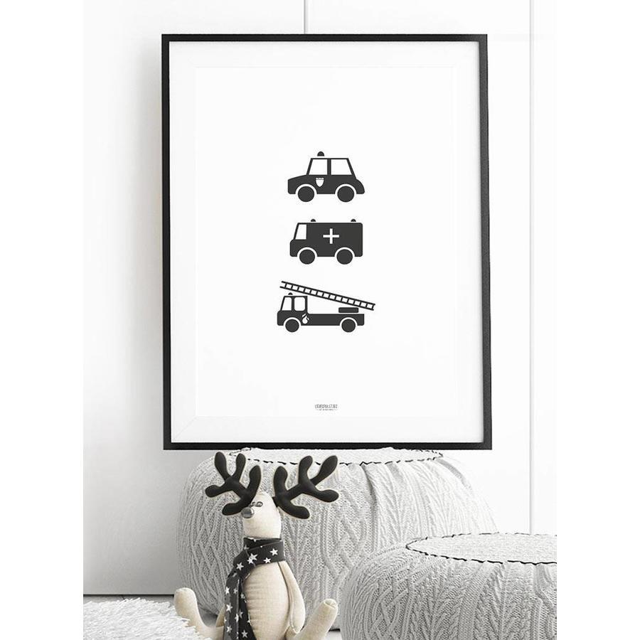 Poster babykamer politie ziekenauto brandweerwagen zwart wit-2